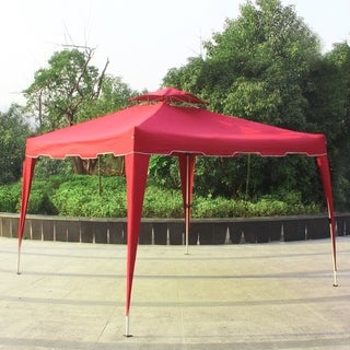 10' x 10' Garden Pop Up Canopy Gazebo Patio Outdoor Double Roof Easy Set Up Canopy Tent Resist Light Rain, Burgundy