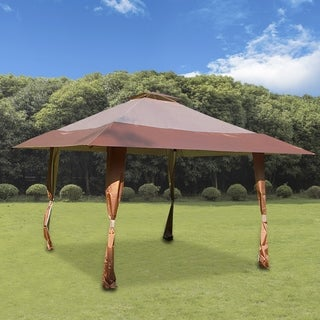 13' x 13' Pop Up Canopy Outdoor Yard Patio Double Roof Easy Set Up Canopy Tent for Party Event, Brown Tan