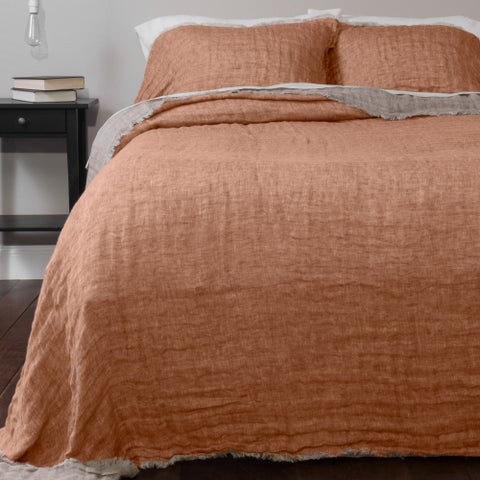 Kennith Reversible Linen Bedspread Set, Tangerine