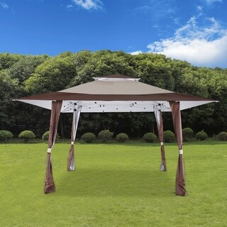 13' x 13' Pop Up Canopy Outdoor Yard Patio Double Roof Easy Set Up Canopy Tent for Party Event, Brown Beige
