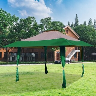 13' x 13' Easy Pop Up Outdoor Canopy Tent,, Hunter Green Tan