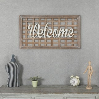 Wood and Metal Welcome Wall Decor