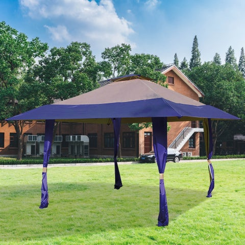 13' x 13' Easy Pop Up Outdoor Canopy Tent, Royal Blue and Tan