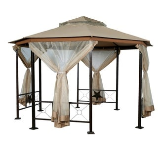 Sand-colored Fabric/Stainless Steel 12-foot x 12-foot Octagonal Gazebo Canopy with Mosquito Netting