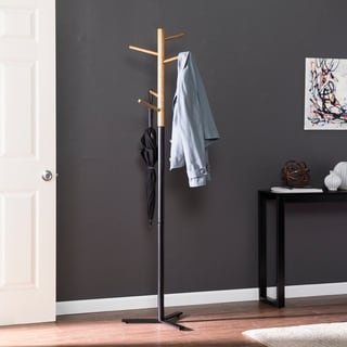 Emylee Natural and Black Hall Tree/Coat Rack