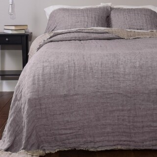 Kennith Reversible Linen Bedspread Set, Periwinkle