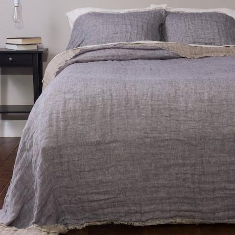 Jaden Reversible Linen Bedspread Set, French Blue