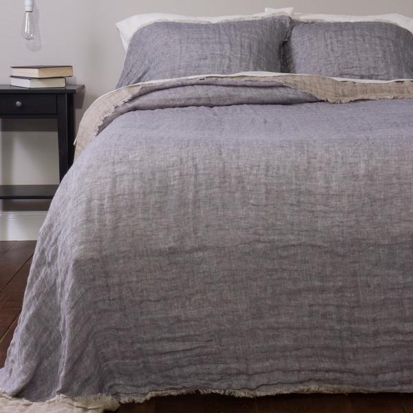 Jaden Reversible Linen Bedspread Set, French Blue. Opens flyout.
