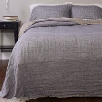 Kennith Reversible Linen Bedspread Set, French Blue