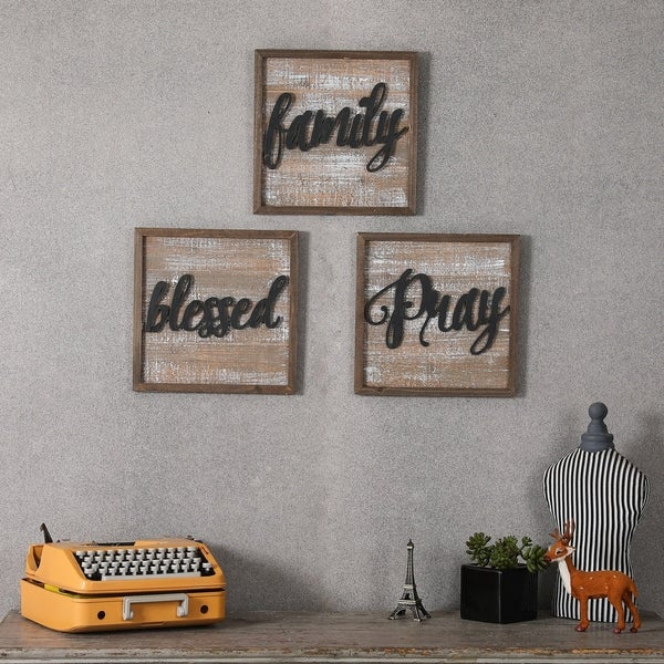 Set of 3 Wood and Metal Inspirational Wall Plaques