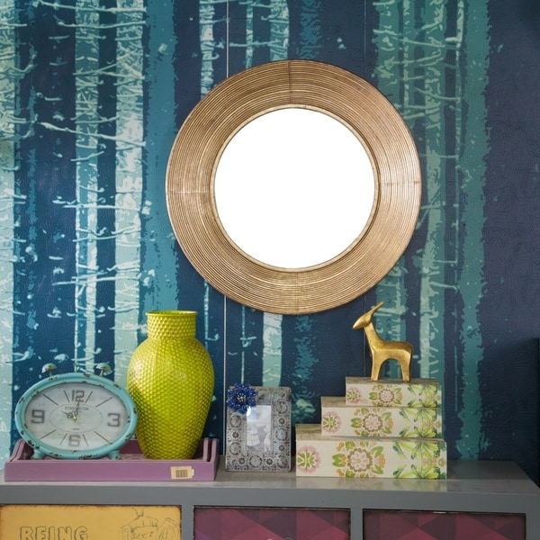 24.25in. Dia. Metal Round Wall Mirror - Antique Gold - A/N
