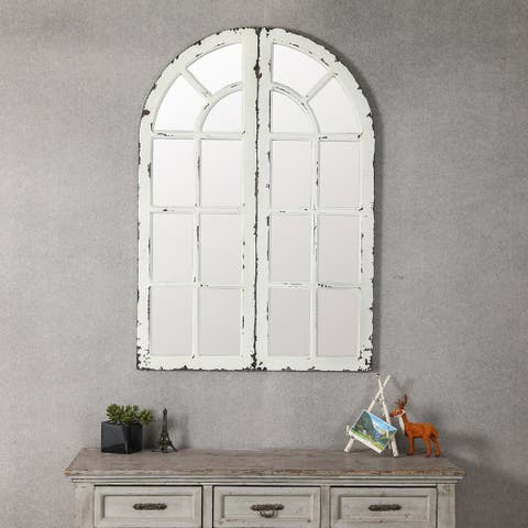 Set of 2 Window Panels with Mirror - A