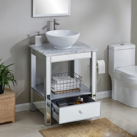 Harper Blvd Clemford Matte Silver and Soft Gray Vanity
