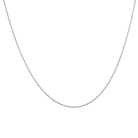 """10K White Gold 18"""" Rope Chain with Spring Ring Clasp"""