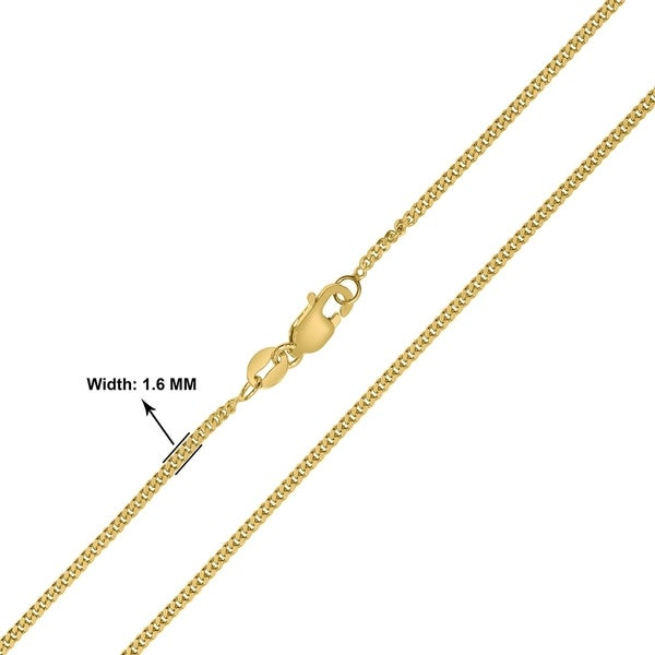 10k Gold Solid Diamond-Cut Rope Chain Necklace with Lobster Clasp 1.9mm