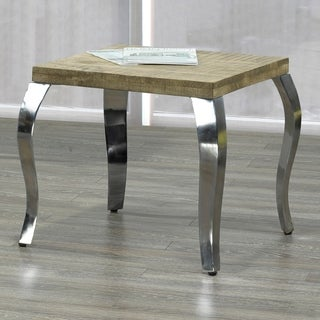 Natalia-Solid wood/Chrome Accent Table