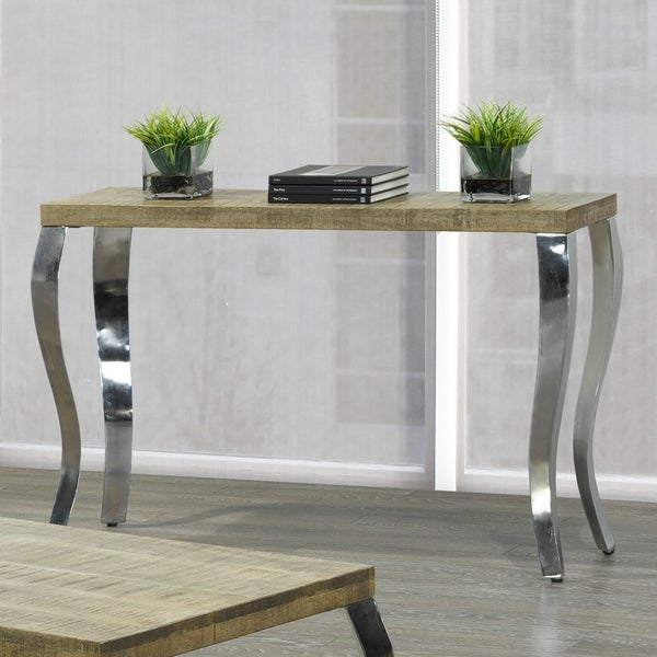 Shop Natalia Solid Wood Chrome Console Table Free