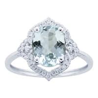 10K White Gold 2.00ct TW Aquamarine and Diamond Vintage Style Ring - Blue