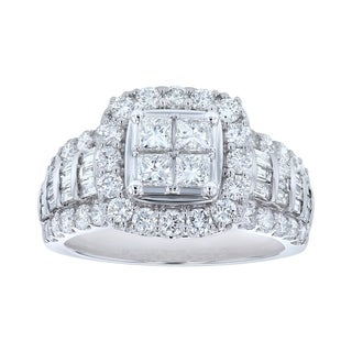 14K White Gold 2ct TDW Diamonds Engagement Ring - White H-I