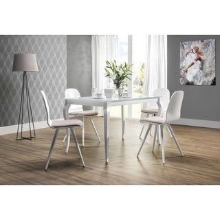 Bresso Glass Top White Dining Table with Extension