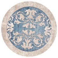 Libby Langdon Winston Teal/Beige Watercolor Batik Round Area Rug (6'6 x 6'6)