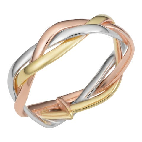 Fremada Italian 14k Tricolor Gold Braided Ring - Pink/Yellow/White