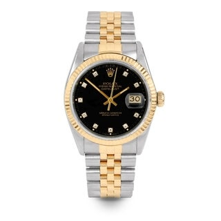 Pre-Owned Rolex Mens 36mm Datejust - 16013 Model - Stainless Steel & Yellow Gold - Black Diamond Dial - Jubilee Band