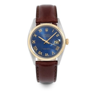 Pre-Owned Rolex Mens 36mm Datejust - 16013 Model - Stainless Steel & Yellow Gold - Blue Roman Dial - Brown Leather Strap