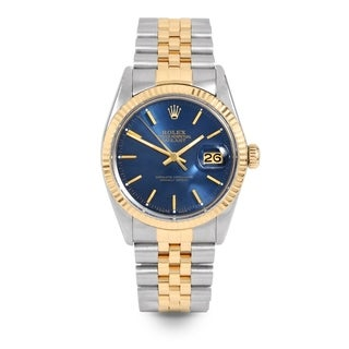 Pre-Owned Rolex Mens 36mm Datejust - 16013 Model - Stainless Steel & Yellow Gold - Blue Stick Dial - Jubilee Band