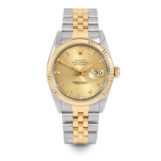 Pre-Owned Rolex Mens 36mm Datejust - 16013 Model - Stainless Steel & Yellow Gold - Champagne Diamond Dial - Jubilee Band