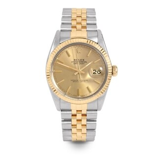 Pre-Owned Rolex Mens 36mm Datejust - 16013 Model - Stainless Steel & Yellow Gold - Champagne Stick Dial - Jubilee Band