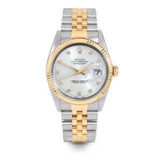 Pre-Owned Rolex Mens 36mm Datejust - 16013 Model - Stainless Steel & Yellow Gold - Silver Diamond Dial - Jubilee Band