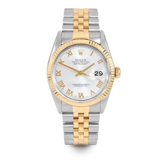 Pre-Owned Rolex Mens 36mm Datejust - 16013 Model - Stainless Steel & Yellow Gold - Silver Roman Dial - Jubilee Band