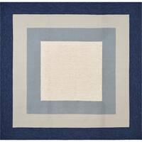 Libby Langdon Hamptons Slate/Navy Highview Square Rug - 7' x 7'