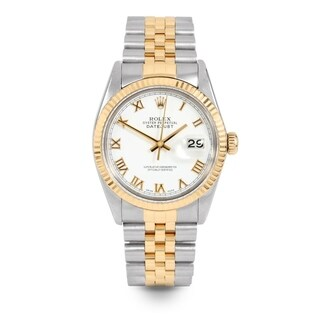Pre-Owned Rolex Mens 36mm Datejust - 16013 Model - Stainless Steel & Yellow Gold - White Roman Dial - Jubilee Band