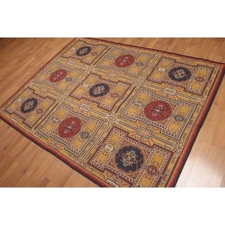 """Art Deco Style French Needlepoint Area Rug - Gold/Blue - 5'5"""" x 7'"""