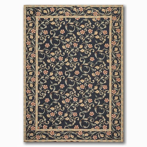 Costikyan Country Cottage Botanical French Needlepoint Area Rug - Black/Beige - 6' x 9' - 6' x 9'