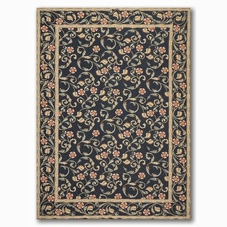 Costikyan Country Cottage Botanical French Needlepoint Area Rug - Black/Beige - 6' x 9'