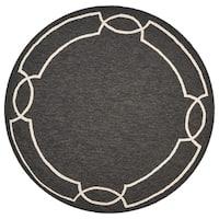 Libby Langdon Hamptons Madison Onyx/Cream Round Rug - 7' x 7'