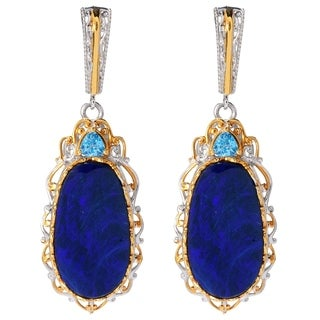 Michael Valitutti Palladium Silver Australian Black-Blue Boulder Opal Doublet and Swiss Blue Topaz Drop Earrings