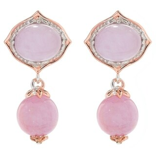 Michael Valitutti Palladium Silver Kunzite Two-Stone Drop Earrings