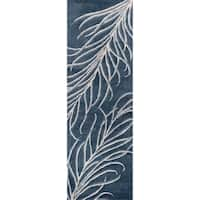Bob Mackie Home Plume Handmade Slate Grey Cotton/Viscose/Wool Runner Rug - 2'6 x 8'
