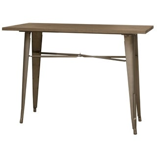 AmeriHome Rustic Gunmetal Counter Hgt Metal Dining Table w/ Wood Top
