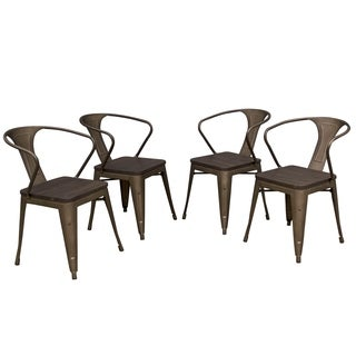 AmeriHome Loft Rustic Gunmetal Metal Dining Chair w/ Wood Seat- 4 PC