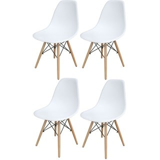 AmeriHome White Wooden Leg Accent Chairs - 4 Piece Set