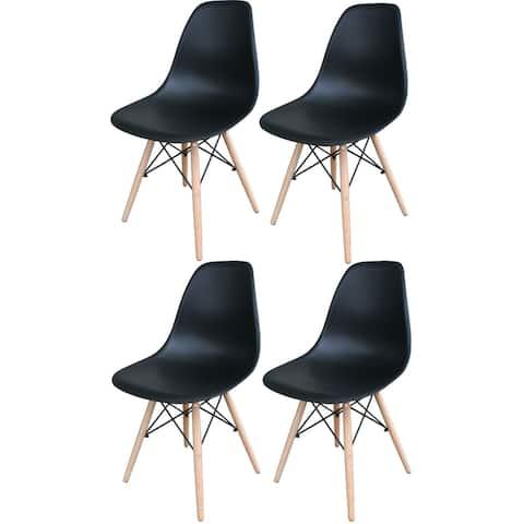 AmeriHome Black Wooden Leg Accent Chairs - 4 Piece Set