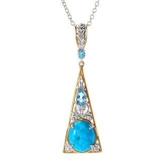 Michael Valitutti Palladium Silver Bird's Eye Turquoise and Swiss Blue Topaz Triangle Pendant