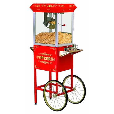 Elite Deluxe EPM-400 8-Ounce Popcorn Popper Machine with Trolley, Red
