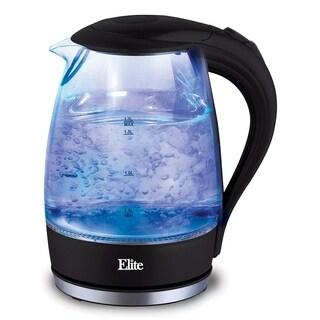 Elite Platinum EKT-300 1.7-Liter Glass Cordless Electric Kettle, Black