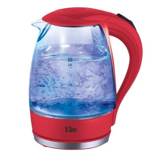 Elite Platinum EKT-300R 1.7-Liter Glass Cordless Electric Kettle, Red